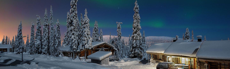 Flugreise Finnland Lappland im Winter mit Nordlichtern